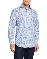 Bugatchi Men's Apple Print Long-sleeve Sports Shirt - Blue