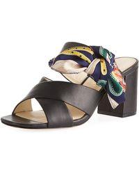 Bettye Muller - Arpege Chunky-heel Mule Sandal With Scarf - Lyst