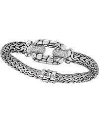 John Hardy - Silver White Topaz Lava Station Bracelet - Lyst