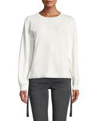 Nicole Miller - Side Tie Long-sleeve Pullover Sweater - Lyst