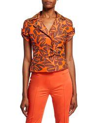 Akris Punto Tropical-leaf Jacquard Safari Trench Jacket - Orange