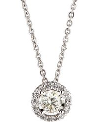 Neiman Marcus - 14k White Gold Round Diamond Solitaire Pendant Necklace 0.61tcw - Lyst