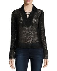 Lamarque - Challie Lace-up Suede-trim Top - Lyst
