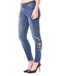 Nicole Miller - Tribeca Mid-rise Embroidered Skinny Jeans - Lyst