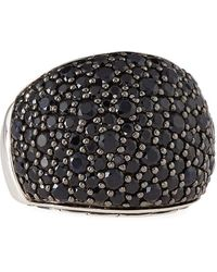 John Hardy - Bedeg Silver Lava Pave Black Sapphire Ring - Lyst