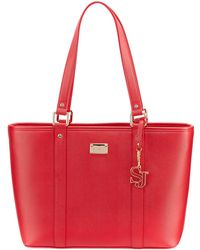 St. John   Textured Faux-leather Zip Tote Bag   Lyst