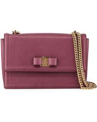 Ferragamo - Ginny Medium Vara Flap Crossbody Bag - Lyst