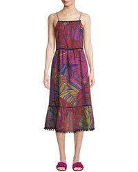 Catherine Malandrino - Scoop-neck Sleeveless Multicolor Palm-print Maxi Dress W/ Pompom Trim - Lyst