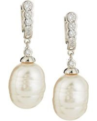 Majorica - 14mm Baroque Simulated Pearl & Cubic Zirconia Earrings - Lyst