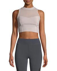 Cushnie et Ochs Kira High-neck Performance Mesh Crop Top With Lace-up Detail - Multicolour