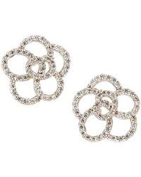 Fantasia by Deserio - Cz 18k Gold-plated Flower Stud Earrings - Lyst