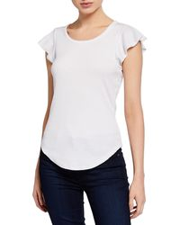Chaser Flouncy Short-sleeve Shirttail Top - White