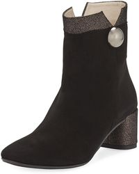 Amalfi by Rangoni Roscato Suede Shimmer-trimmed Bootie - Black