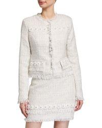 Endless Rose Floral Applique Tweed Blazer - White