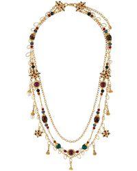 Jose & Maria Barrera Draped 3-chain Crystal Necklace