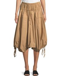 Donna Karan - Pull-on Cotton Trapeze Midi Skirt W/ Drawstrings - Lyst