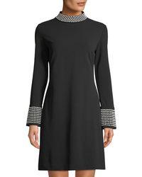 Karl Lagerfeld - Mock-neck Bell-sleeve Dress W/ Heat-set Detail - Lyst