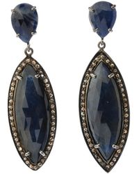 Bavna - Silver Marquise Drop Earrings With Blue Sapphire & Diamonds - Lyst