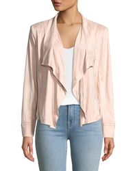 Donna Karan - Draped-front Faux-suede Jacket - Lyst