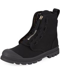Burberry Men's Lace-up Zip High-top Boots - Black