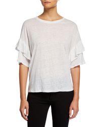 Joan Vass Crewneck Short-sleeve Drop-shoulder Dolman Tee W/ Ruffle Trim - White