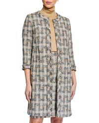 Anne Klein Tweed Fringe Topper Jacket - Natural