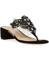 Neiman Marcus Rhinestone Slide-on Sandals - Black