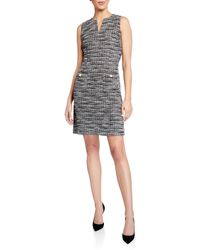 Karl Lagerfeld Sleeveless Knit Tweed Dress With Front Pockets - Black