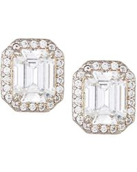 Fantasia by Deserio - Emerald-cut Pave Stud Earrings Clear - Lyst