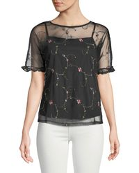 Casual Couture - Embroidered Mesh Illusion Tee - Lyst