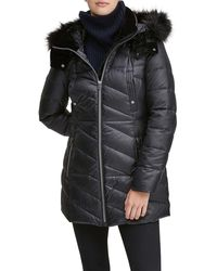 Marc New York Shirley Velvet-trim Quilted Parka Coat With Faux-fur Hood - Black