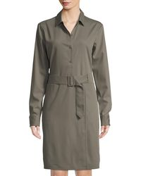 Tomas Maier - Long-sleeve Belted Wool Shirt Dress - Lyst