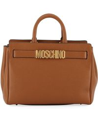 Moschino - Pebbled Leather Satchel Bag - Lyst