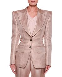 Tom Ford - Metallic Twill Two-button Jacket With Strong Shoulders - Lyst