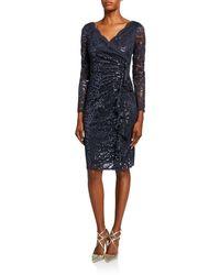 Marina Lace Cascading Ruffle Sheath Dress - Blue