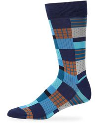 Bugatchi Men's Mid-calf Boxed-print Socks - Blue