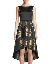 Donna Ricco - Floral-taffeta High-low Cocktail Dress - Lyst