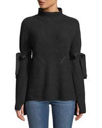 Neiman Marcus - Bell-sleeve Mock-neck Knit Sweater - Lyst