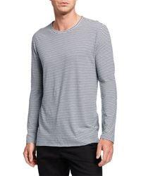 Vince Men's Feeder Striped Long-sleeve T-shirt - Blue