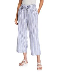 Max Studio Striped Tie-waist Cropped Pants - Blue