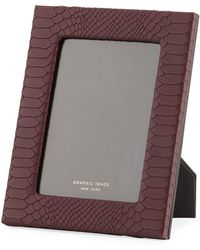 Graphic Image Python-embossed Leather Picture Frame - 5 X 7 - Red