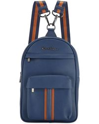 Robert Graham Perforated Faux-leather Mini Backpack Navy - Blue