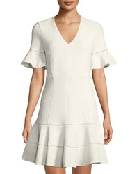 Rebecca Taylor - Textured V-neck Flounce Dress - Lyst
