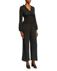 Max Studio Smocked-waist Long-sleeve Jumpsuit - Black