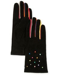 Neiman Marcus Pearly Suede Gloves - Black