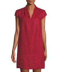 Neiman Marcus - Linen Cap-sleeve Sheath Dress - Lyst