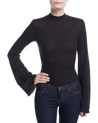 Kendall + Kylie - Bell-sleeve Mock-neck Bodysuit - Lyst