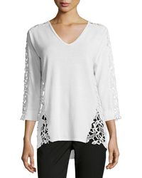 Magaschoni - 3/4-sleeve Lace-inset Sweater - Lyst
