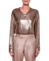 Tom Ford - Slouchy Chainmail V-neck Top - Lyst