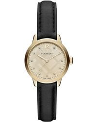 Burberry - 32mm Round Check Watch With Diamonds - Lyst